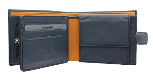 Bi Two Visconti Tone Blue Gents Blue Mustard LEONARDO Parma Collection Wallet Mustard Leather Fold PM102 wCwq01