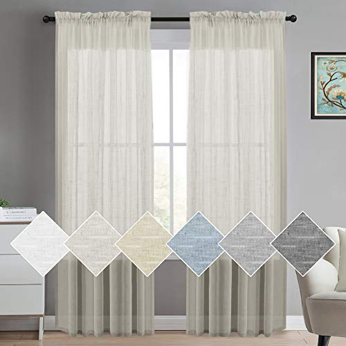 (Turquoize Natural Linen Blended Window Curtain Panels Semi Sheer Curtains 84 Inches Long - Rod Pocket Burlap Curtains Light Filtering Semi Sheers Curtains for Bedroom/Living Room (Set of 2,)