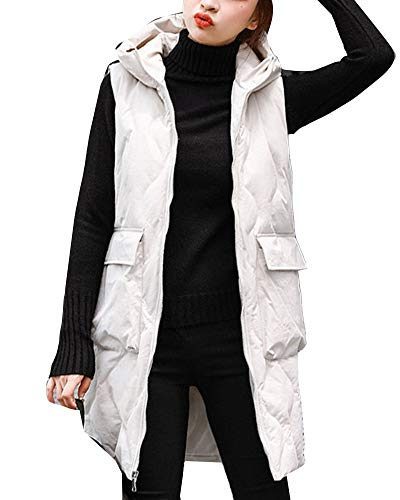 Jacket Long GladiolusA Sleeveless Vest Loose Womens Coat Quilted White Padded Hooded Gilet XrqYUH0q