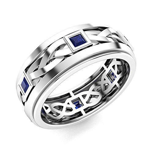 (Diamondere Natural and Certified Princess Cut Blue Sapphire Wedding Band Ring in 14k White Gold | 0.60 Carat Celtic Knot Ring for Mens, US Size 11.5)