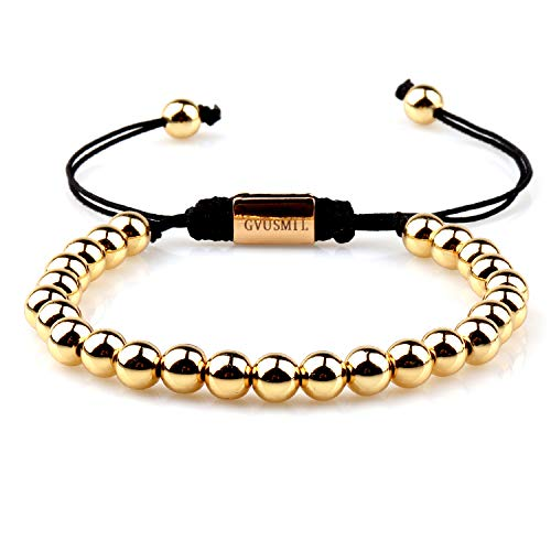 GVUSMIL 18kt Gold Plated 6mm Copper Beads Bracelet King Bracelets Luxury Fashion Charm Jewelry for Men ()