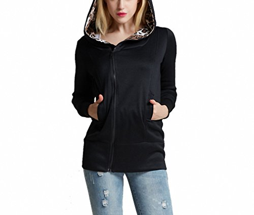 Leopard Hoodie (NEW Womens Fashion Fleeces Sweatshirts Leopard Hoodies Long Sleeve Zip Up Hooded Hoody BK L)