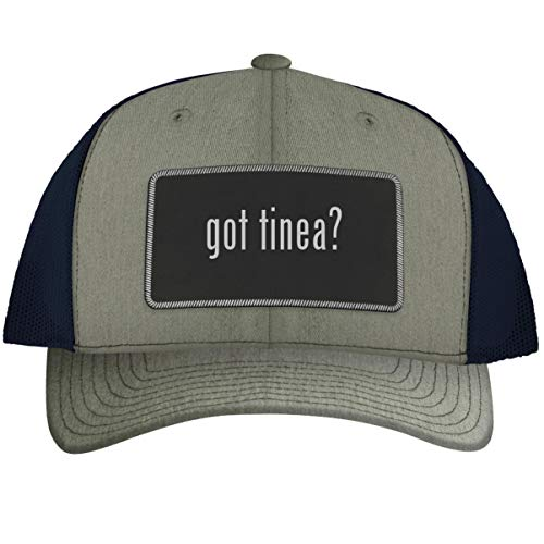 got Tinea? - Leather Black Metallic Patch Engraved Trucker Hat, HeatherNavy, One Size