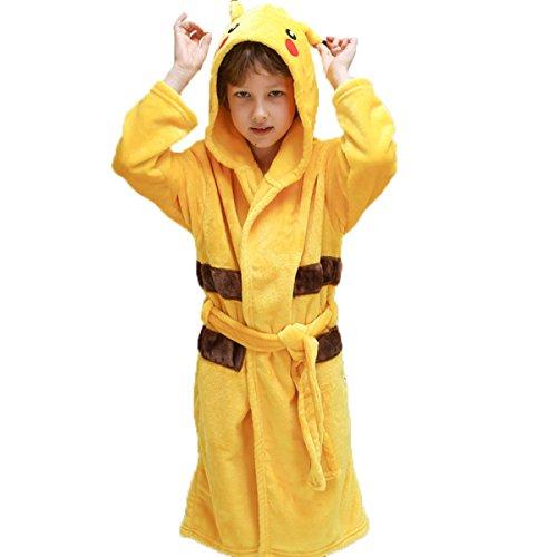 OUCHI Flannel Children Kids Animal Cartoon Pajamas Cosplay Hoody Bathrobe Pikachu Yellow L /Height:145-160cm/ 8Y-10Y ()