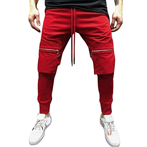 Mens Pants Pure Color Pocket Overalls Casual Pocket Sport Work Casual Trouser Red