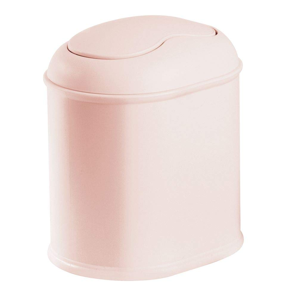 mDesign Modern Plastic Mini Wastebasket Trash Can Dispenser with Swing Lid for Bathroom Vanity Countertop or Tabletop - Dispose of Cotton Rounds, Makeup Sponges, Tissues - Light Pink/Blush
