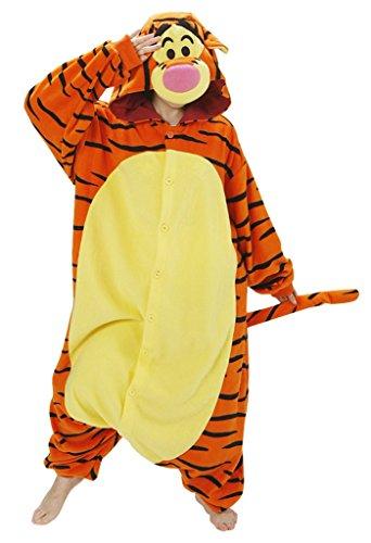 [Gillbro Anime Adult Animal Cosplay Costume Pajamas,Yello Tigger,M] (Disney Cartoon Mad Hatter Costume)