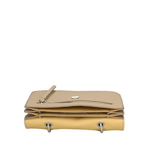 Chicca fabriqué Borse Sac 23x17x7 véritable à Petit Cm Clutch cuir Italie main en en Femme Taupe rvrIndHqU