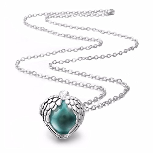 EUDORA Harmony Bola Angel Wing Heart Cage Musical Chime 18mm Pendant Necklace,30'' Seagreen