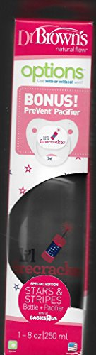 Dr Browns Special Edition Stars and Stripes 8 Ounce Options Bottle and PreVent Pacifier -