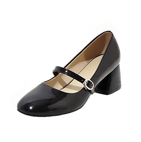Odomolor Women's Kitten-Heels Solid Buckle Patent Leather Closed-Toe Pumps-Shoes Black bZZcdp
