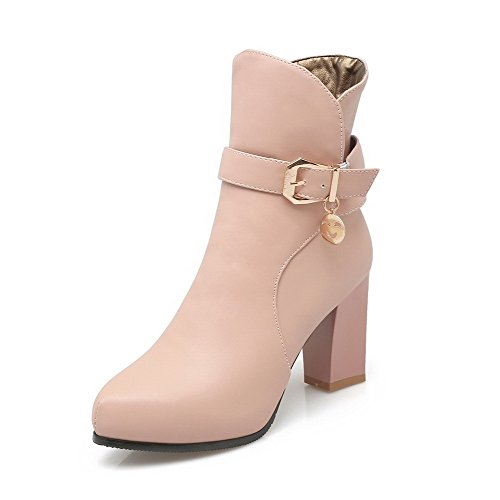 AgooLar Pink High Women's Zipper Pointed Heels Low Closed Material Soft Boots top Toe w7T6SwqfZ