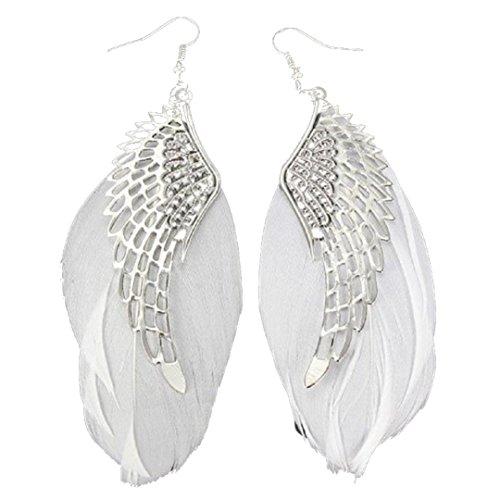 Auwer Clearance Earrings Fashion Jewelry Angel Metal Wing Bohemian Handmade Vintage Feather Long Drop Earrings (White) (Angel Round Earrings)