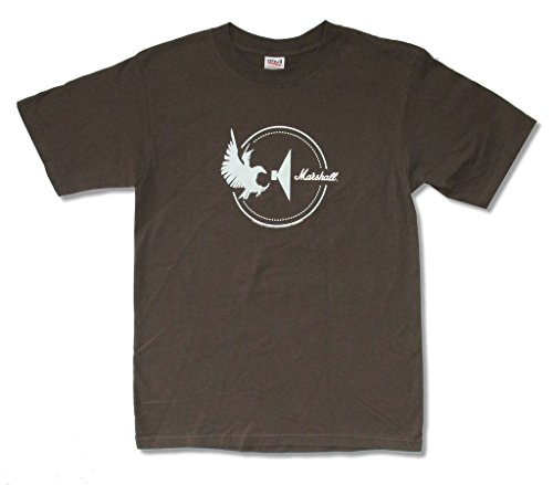 Marshall Amps Speaker Eagle Cycle Logo Adult Brown T Shirt (S) (Amplification Marshall Tube)