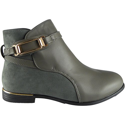SIZE STRAP BOOTS HEEL 8 3 CHELSEA LADIES GOLD Grey LOW WOMENS SHOES CUBAN CASUAL ANKLE xBRPE