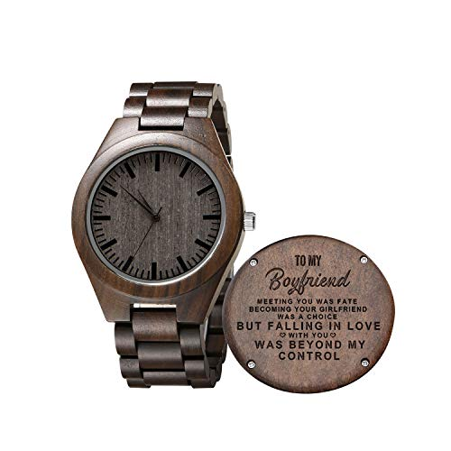Engraved Mens Wooden Watch - Personalized Sandalwood Wood Watch Gift for Son,Graduation Gift from Mom, from Dad (for Boyfriend)