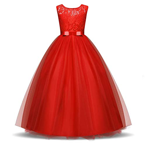 Flower Girl Dress Lace Tulle Long A Line Princes Pageant Formal Wedding Bridesmaid Party Maxi Dresses for Girls 9-10 Years Old Red
