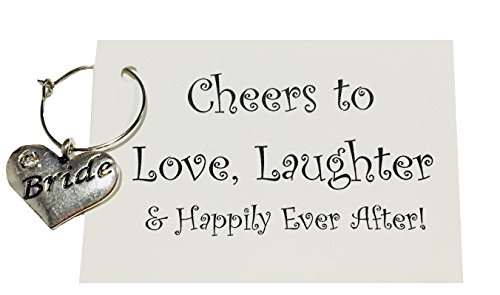 Bride Wine Glass Charm, Cheers to Love Laughter & Happily Ever After! Bride Wine Glass Tag, Bachlorette Party Bridal Party Wedding Gift