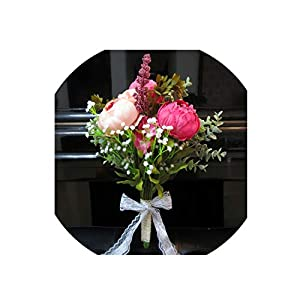 Seller-Wu Wedding Bouquets Peony Artificial Flowers for Bride Bridal Bouquet,3 52
