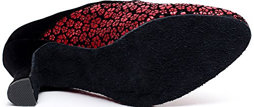 Red Heel Abby Cha Round Tango toe Cha shoes Latin Womens up Dance Lace PU Kitten wAYrAxq6t