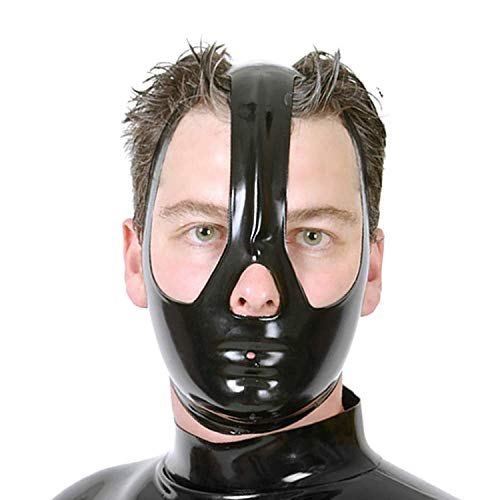 Latex Mask Unisex Rubber Hood with Covering Half of Face with Open Eyes and Nose (M) Black