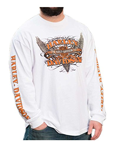 Harley-Davidson Mens Rise Up Winged B&S Long Sleeve Crew Neck Shirt, White (5XL)