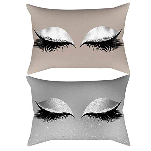 LYN Star ♪ Bronzing Flannelette Home Pillowcase Decorative Cushion Cover Eyelashes Letters Lash Out Covers Set Bedroom