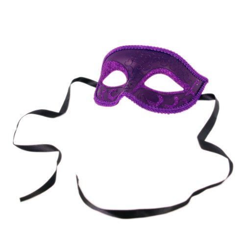 Venetian Style Mardi Gras Masquerade Costume Half Mask, Purple (6107) ()