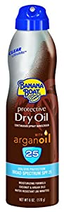 Banana Boat Sunscreen Ultra Mist Protective Dry Oil Broad Spectrum Sun Care Sunscreen Spray - SPF 25, 6 Ounce(Pack of 3)