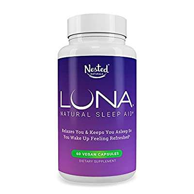LUNA | #1 Natural Sleep Aid on Amazon | 60 Non-Habit Forming Vegan Capsules | Herbal Sleeping Complex with Melatonin 6mg, Valerian, Chamomile, Magnesium 10mg and More | Relax and Calm Supplement Pills