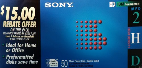 Sony Floppy Disks: Double-Sided, IBM Formatted, MFD High Density 50 PACK by Sony