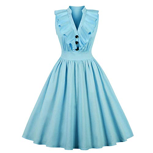 Mysky Women Vintage Ruffle V-Neck Button Hepburn Dress Ladies Casual Solid Evening Party Midi Swing Dress