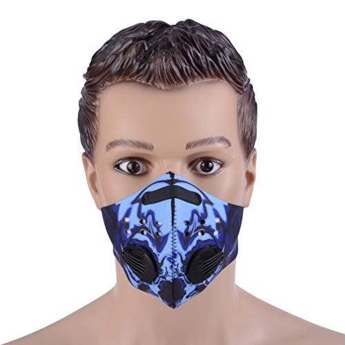 ZUKAM Anti Dust Masks Anti Pollution Mask Carbon Filtration Exhaust Gas Anti Pollen Allergy PM2.5 Face Mask with Adjustable Strap For Cycling Running Hiking Motorcycle (Blue)