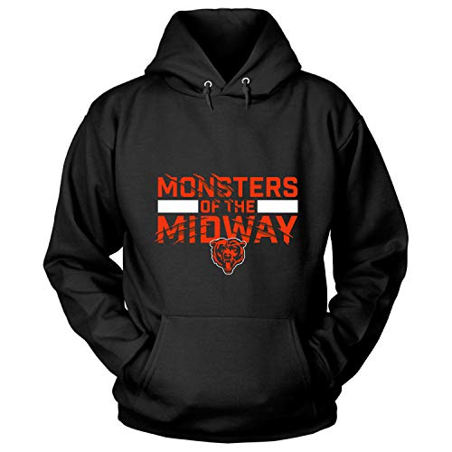 Chicago Bears NFC North T Shirt, Monsters of The Midway T Shirt - Hoodie (XL, Black)