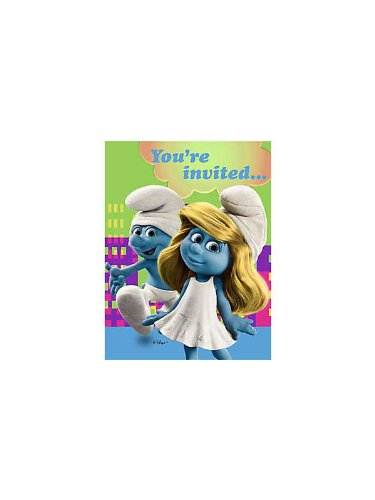 Smurfs Party Invitations 8 Pack