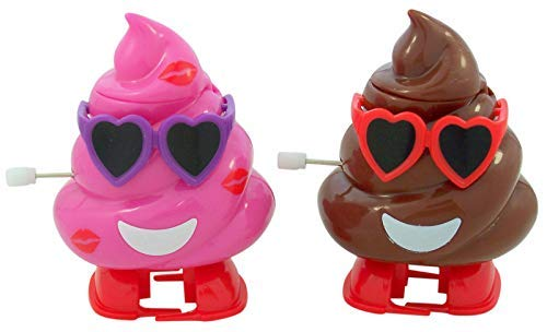 Valentines Day Brown and Pink Poop Emoji Toy Candy Dispenser with Heart Sunglasses, Set of ()