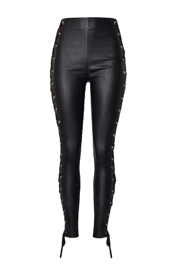 Macondoo Mens Slim Biker Pure Color Faux Leather High Waist Bandage Pants