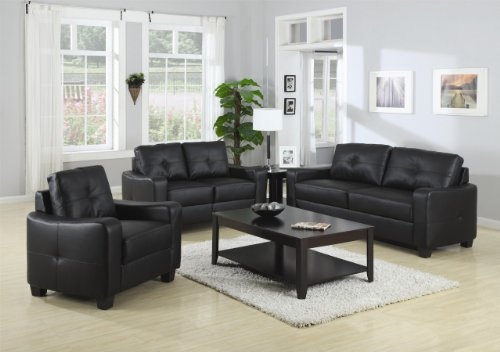 Inland Empire Furniture Joshua BlaCalifornia King Bonded Leather Sofa, Loveseat, and Chair with Chair