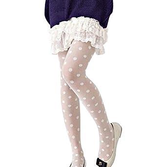 fc8ffbf313f Rameng- Collant Opaque Femme Vêtements Sexy Femme Pois Collants Chaussettes  Bas Resille (Blanc)  Amazon.fr  Vêtements et accessoires
