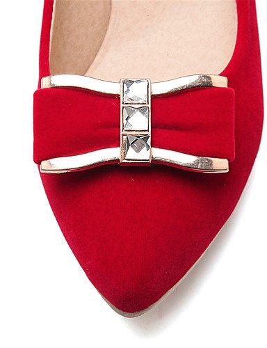 GGX/ Damenschuhe-High Heels-Büro / Kleid / Lässig-Samt-Blockabsatz-Absätze / Pumps / Spitzschuh-Schwarz / Rot red-us6.5-7 / eu37 / uk4.5-5 / cn37