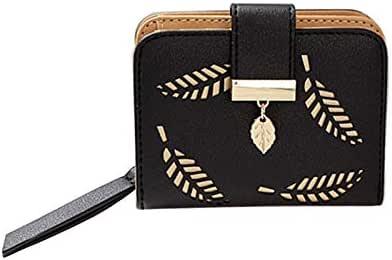 women's purse zipper Leather Hollow Leaves wallet