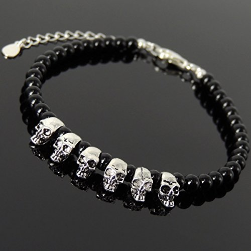 (Men and Women Bracelet Handmade with 4mm Bright Black Onyx and Genuine 925 Sterling Silver Skull Beads, Clasp with Link)