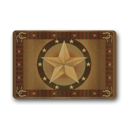 (Western Texas Star Indoor / Outdoor Non-Slip Rubber Doormats Door Mat 23.6 x 15.7 Inch)