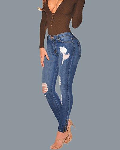 Pantaloni Donna Skinny Come Casuale Distrusse Eleganti Strappati Cerniera Scarni Immagine Denim Jeans aYnrWxTYv