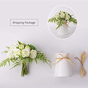 YUYAO Artificial Flowers Rose Bouquets with Vase Fake Modern Bridal Flower with Ceramic Vase for Wedding Home Table Office Party Patio Decoration (Champagne) 5