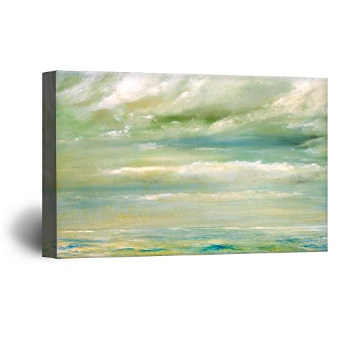wall26 Canvas Wall Art - Oil Painting Style Abstract Seascape - Giclee Print Gallery Wrap Modern Home Decor Ready to Hang - 32x48 inches