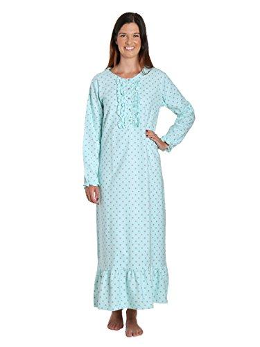 Women's Premium Flannel Long Gown - Dots Diva Aqua-Gray - - Diva Gown
