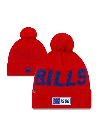 New Ea Knit Hat NFL Buffalo Bills Sideline Sport Knit Winter Beanie Pom Hat Cap (Buffalo Bills Hats Red)