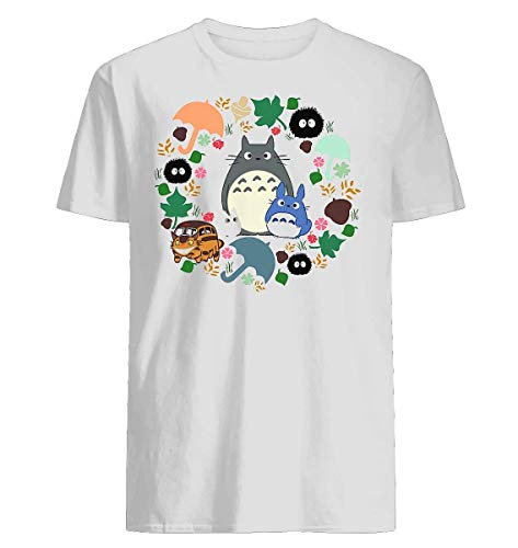 (My Neighbor Totoro Wreath - Anime, Catbus, Soot Sprite, Blue Totoro, White Totoro, Mustard, Ochre, Umbrella, Manga, Hayao Miyazaki, Studio Ghibl 5 - TShirt for men women 1)