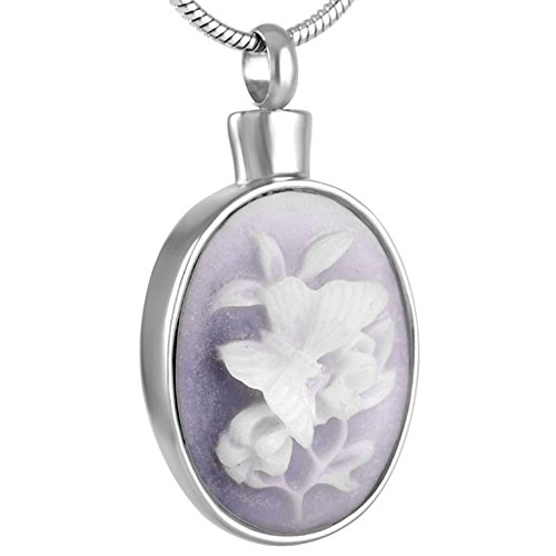 constantlife Flowe in Oval Keepsake Urn Necklace for Ashes Memorial Jewlery Ball Chian Funnel Box Included